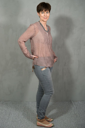 Monrow - Reese Blouse Dusty Pink / Ash