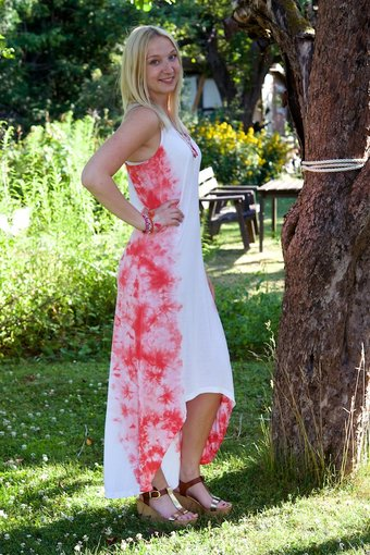 Cream - Harriet Dress Hot Coral