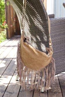 Frontrow - Fringe Body Bag Buff Napa Suede Tan
