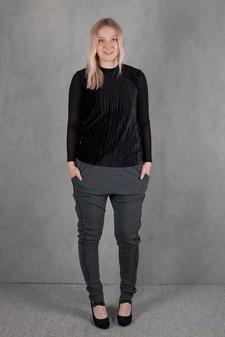 Pulz - Sadella Loose Pant Black Melange