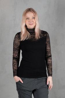 Rosemunde - Silk T-shirt regular ls turtleneck w lace Black