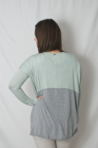 Pulz Jeans - Mika Oversize Top Spring Grey/Green Aqua