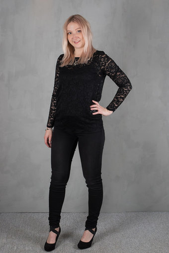 Rosemunde - Lace T-shirt ls Black