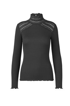 Rosemunde - Silk T-shirt regular ls turtleneck w wide lace Raven