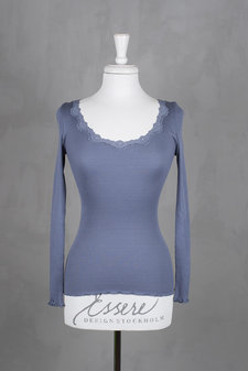 Rosemunde - Silk T-shirt regular ls  w rev vintage  lace Flint Blue